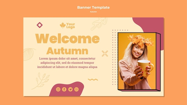Autumn concept banner template Free Psd