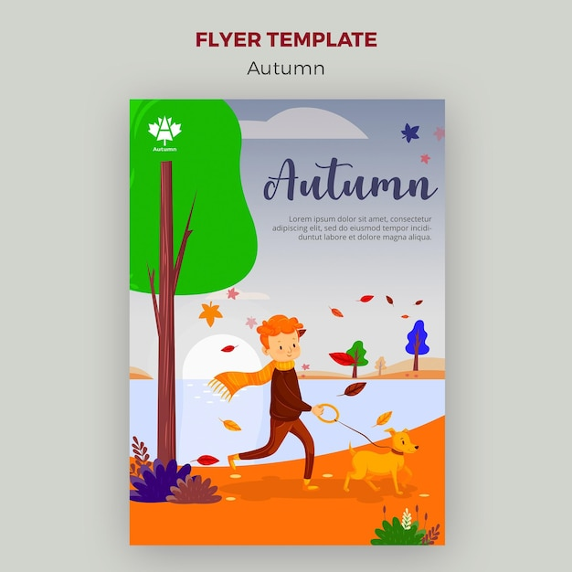 Autumn concept flyer template design Free Psd