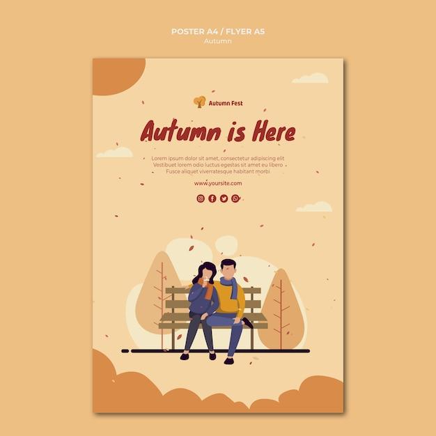 Autumn concept flyer template Free Psd