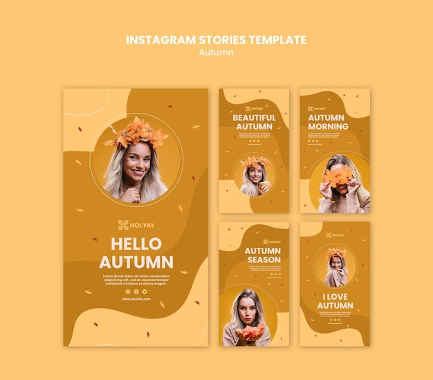 Autumn concept instagram stories template Free Psd