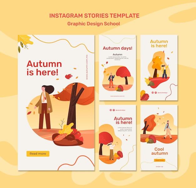 Autumn concept instagram stories template Free Psd
