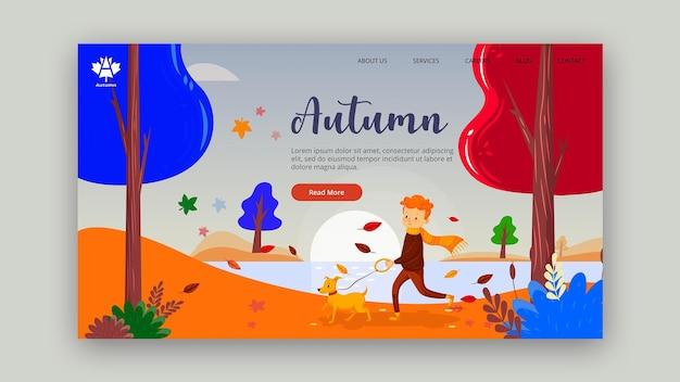 Autumn concept landing page design Free Psd