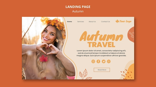 Autumn concept landing page template Free Psd