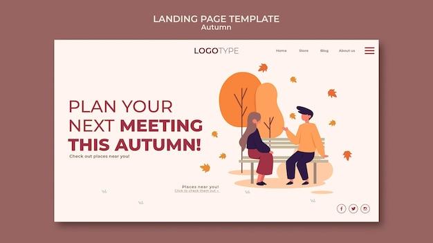 Modello di pagina di destinazione del concetto di autunno Psd Gratuite
