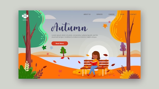Autumn concept landing page Free Psd