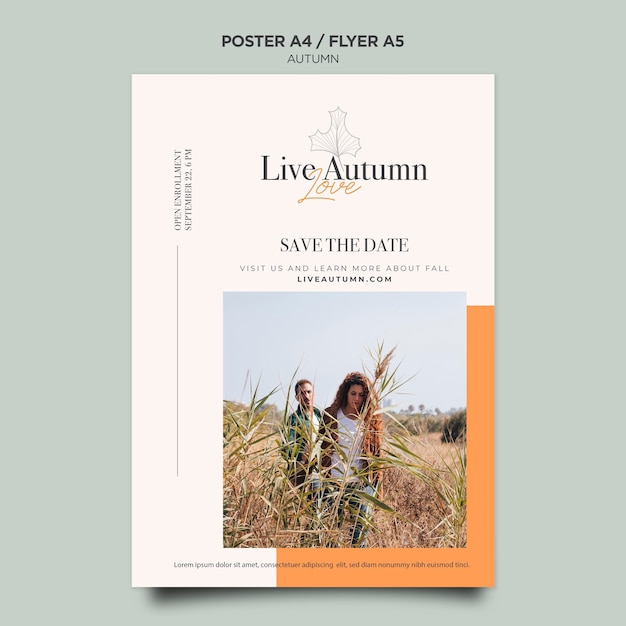 Autumn concept poster template Free Psd
