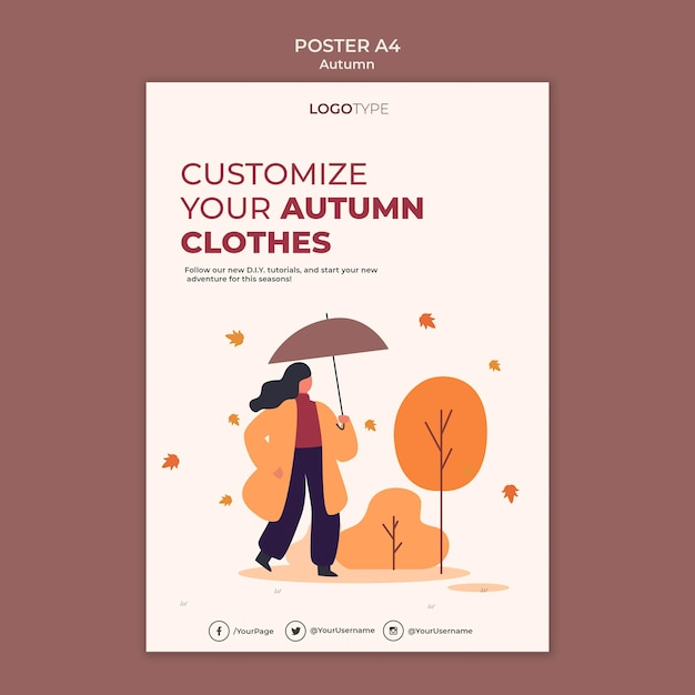 Modello di manifesto del concetto di autunno Psd Gratuite