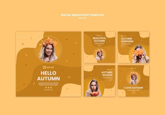 Autumn concept social media post template Free Psd