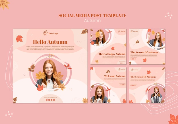 Autumn concept social media post template Free Psd