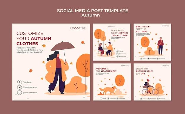Modello di post sui social media di concetto di autunno Psd Gratuite