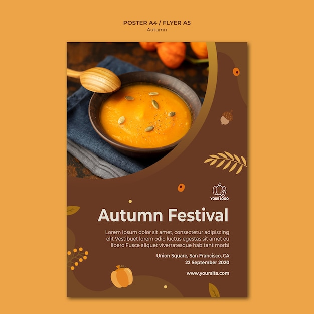 Autumn fest template flyer Free Psd