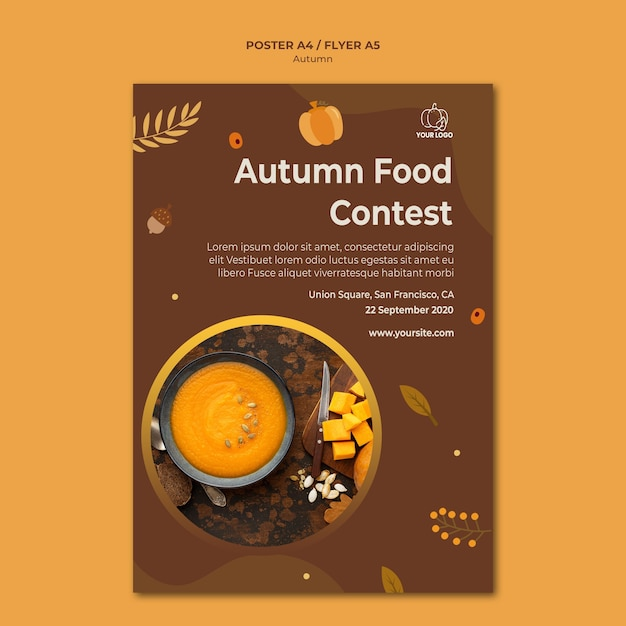 Autumn fest template poster Free Psd