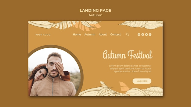 Autumn festival and couple landing page Free Psd