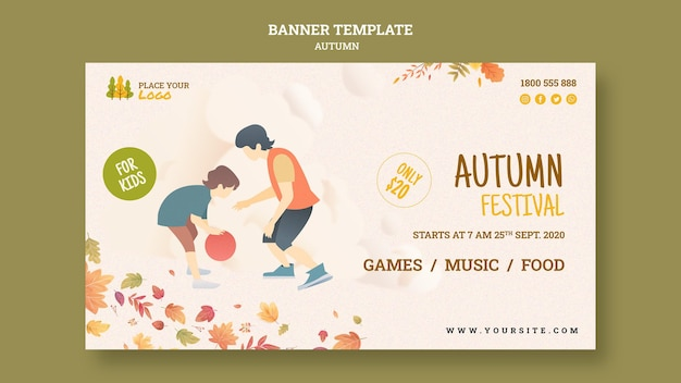 Autumn festival for kids banner template Free Psd