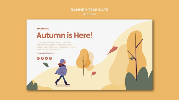 Autumn is here banner template Free Psd