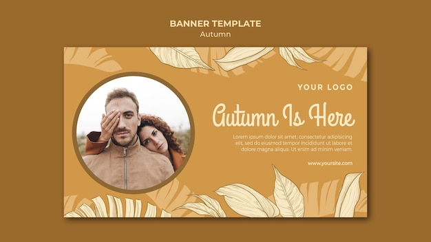 Autumn is here banner web template Free Psd