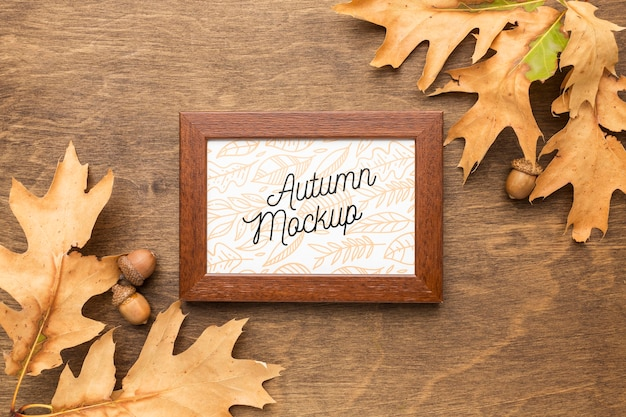 Autumn leaves with frame Free Psd