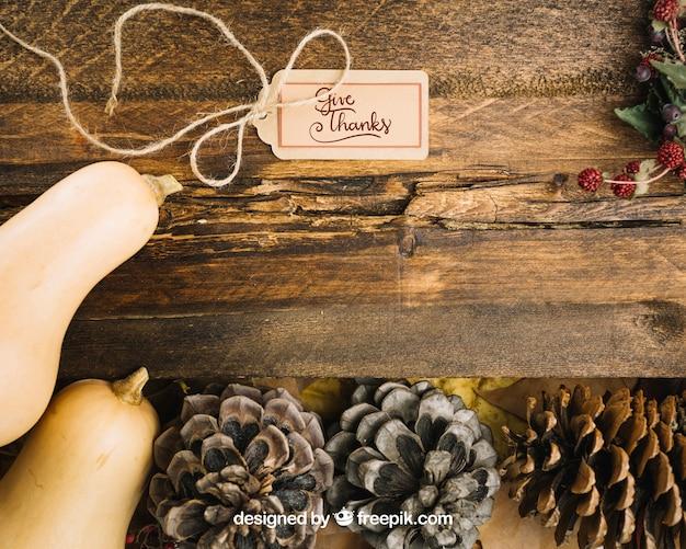 Осенний макет с ярлыком Бесплатные Psd