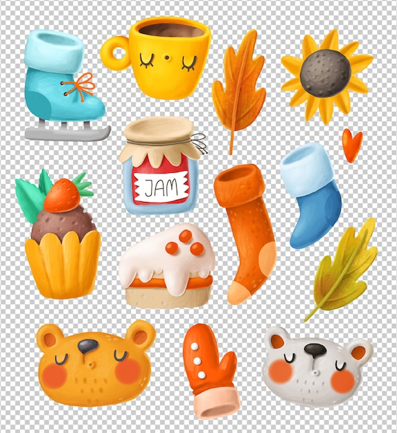 Autumn objects clipart collection Premium Psd
