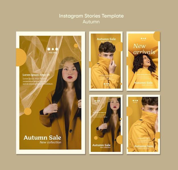 Modello di storie di instagram di vendita autunnale Psd Gratuite