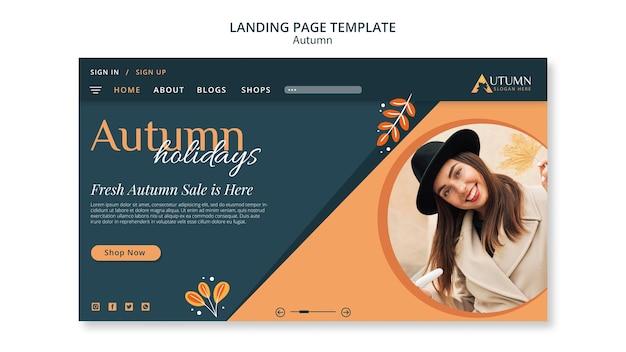Autumn sale landing page template Premium Psd