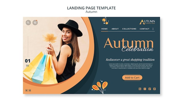 Autumn sale landing page template Free Psd
