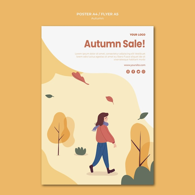 Autumn sale poster template Premium Psd