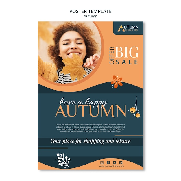 Autumn sale poster template Free Psd