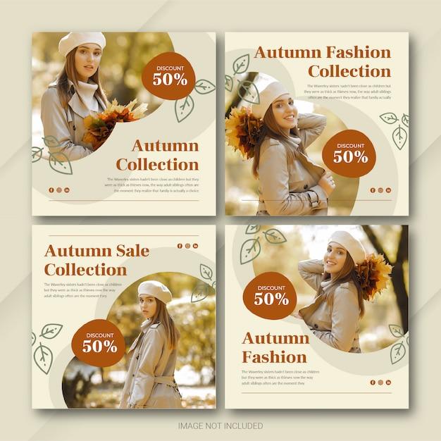 Autumn season sale instagram post bundle template premium psd Premium Psd