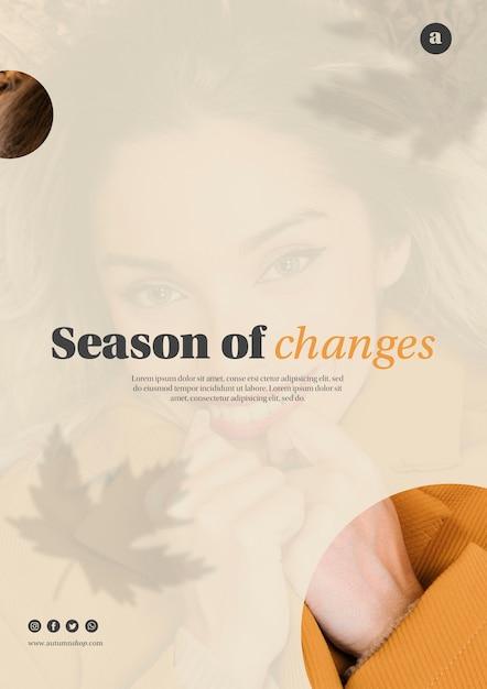 Autumn season web template with beautiful woman Free Psd