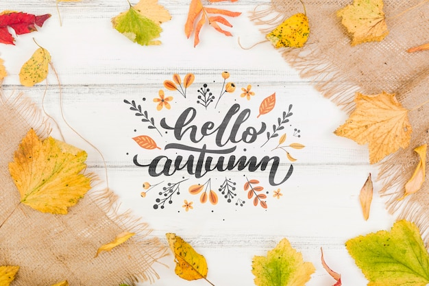 Autumn season welcoming message Free Psd