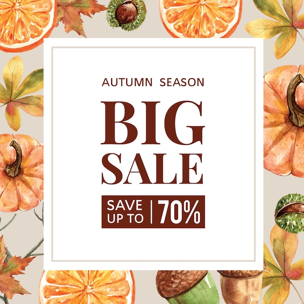 Autumn-themed banner with border frame Free Psd