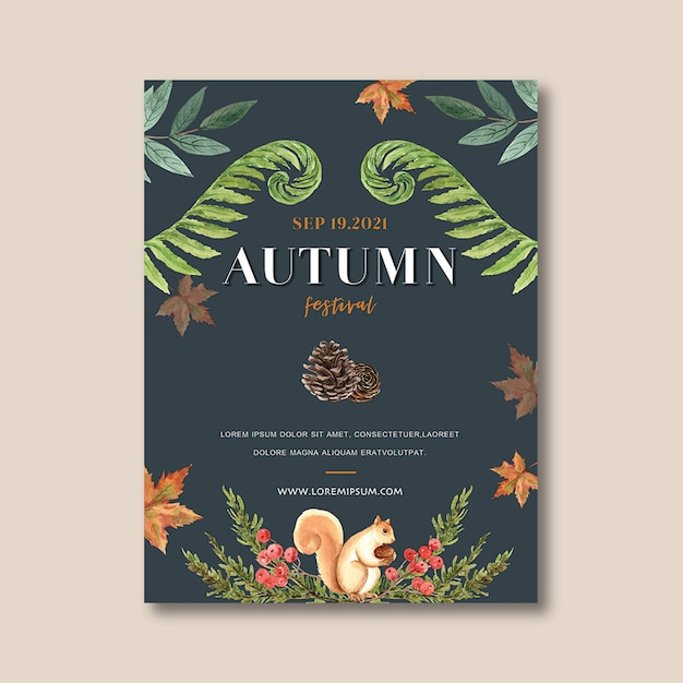 Autumn themed poster with vibrant foliage template Free Psd