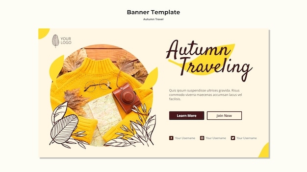 Autumn traveling banner template Free Psd