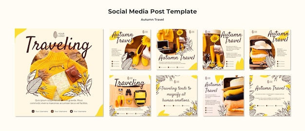 Autumn traveling social media post template Free Psd