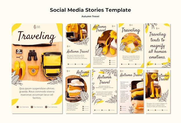 Autumn traveling social media stories template Free Psd