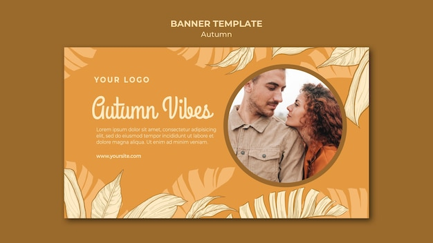 Autumn vibes banner web template Free Psd