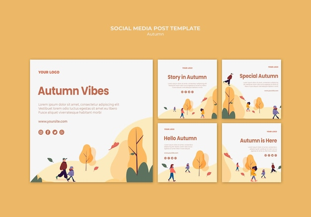 Autumn vibes social media post template Free Psd