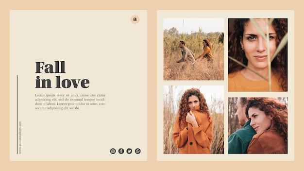 Autumn web template with beautiful photos Free Psd