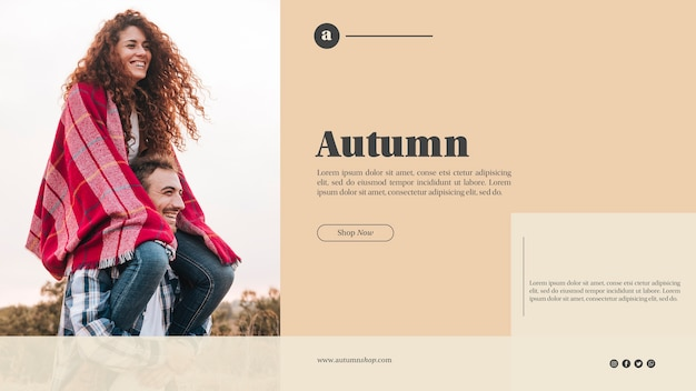 Autumn web template with cute couple Free Psd