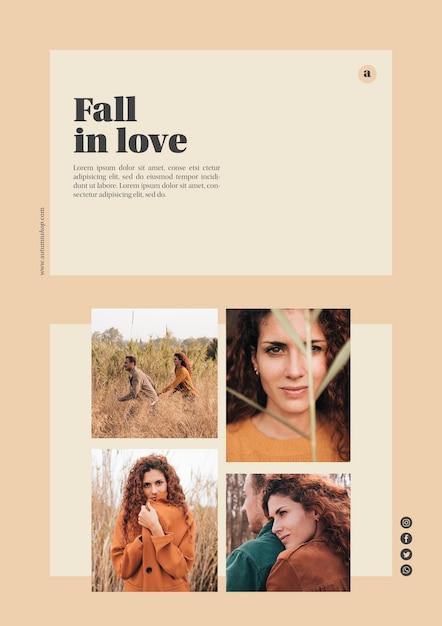 Autumn web template with photos Free Psd