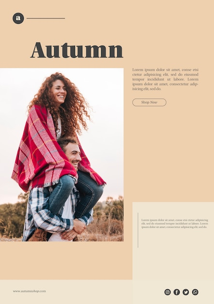 Autumn web template with smiley couple Free Psd