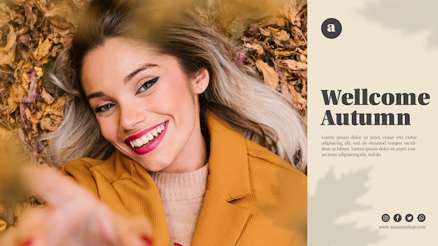 Autumn web template with smiley woman looking at the camera Free Psd