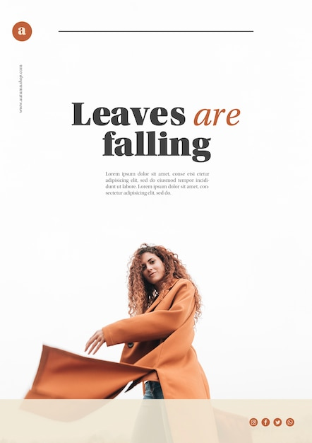 Autumn web template with woman in coat Free Psd