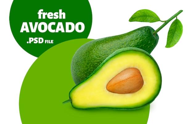 Авокадо, изолированные на белой стене Premium Psd