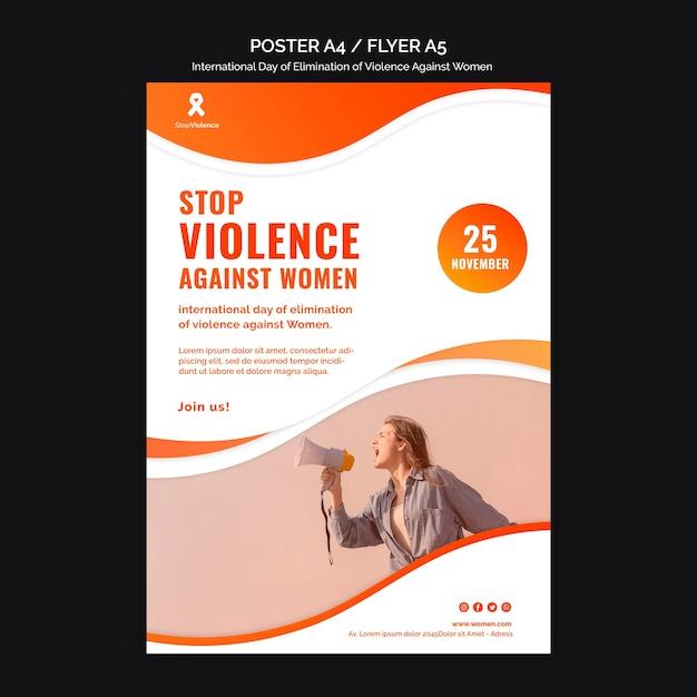 Consapevolezza della violenza contro le donne poster a4 con foto Psd Gratuite