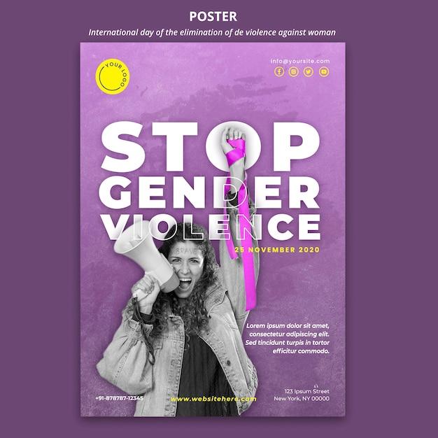 Consapevolezza della violenza contro le donne poster con foto Psd Gratuite