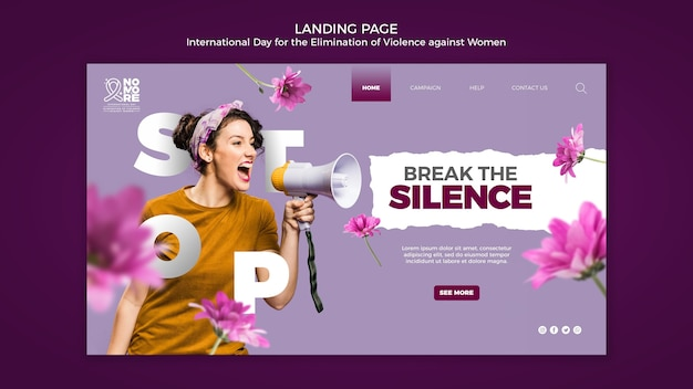 Awareness of violence against women web page Free Psd
