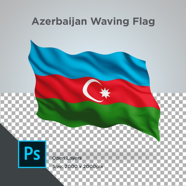 Azerbaijan flag wave  in transparent mockup Premium Psd