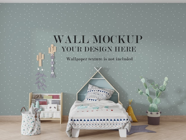 Baby bedroom wall mockup mockup with accessories ideas Premium Psd